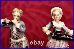A Pair of Antique German Sitzendorf Porcelain Figurines'Musicians' 1887-1900