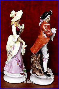 A Pair of Antique Large German Porcelain Figurines