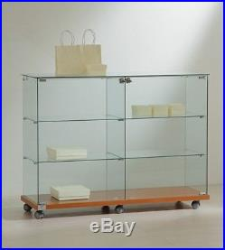 All Glass Display Cabinet with Lockable Door Toughened Glass 90H x 117 x 40 cm