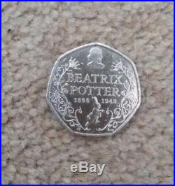 Beatrix potter 50p rare 2016 coin (1866-1948)