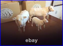 Border Fine Art Cattle Charolais Cow 4599, Bull 4598 Calf 4602 Family Boxed