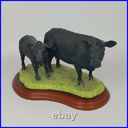 Border Fine Arts Cattle Breeds Range Aberdeen Angus Cow & Calf Group A1251