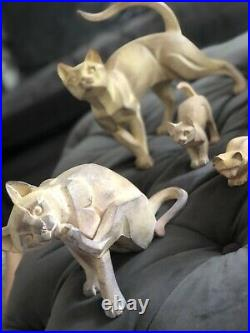 Border Fine Arts Cubist cats Collection X10 in stone colour excellent condition