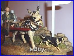 Border Fine Arts Delivering The Milk Donkey Cart With Dogs Ag01 Ltd Ed In Box