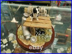 Border Fine Arts Figurine BO275 In The Shade Collie Dog And Puppies Boxed Ayers