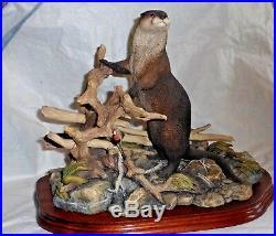 Border Fine Arts Figurine Otter River Sentinel Nib Special Ltd Ed 806 / 1250