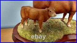 Border Fine Arts'Limousin Cow And Calf' Style One Model No L157 Ltd Ed1094/1500