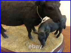 Border Fine Arts Rare Welsh Black Cow And Calf Limited Edition