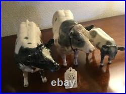 Border Fine Arts Set Belgian Blue Cattle, A4579 Bull, A4582 Cow, &calf 4585 Boxed