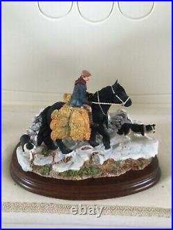 Border fine arts CARRYING BURDENS. Pony Rider and Collies