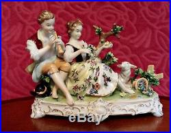 Large Vintage Unterweissbach Dresden lace figurine, of a courting couple, 24 cm