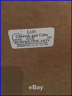 New Border Fine Arts Cheetah and Cubs L133 Limited Edition 1993