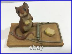 RARE Vintage AYNSLEY Border Fine Arts, MOUSE ON TRAP, CHEESE 1980, owned from new