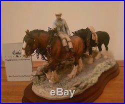 Rare Border Fine Arts COMING HOME Shire Horses James Herriot c. 1985