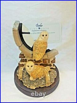 Rare Border Fine Arts Silent Sanctuary Barn Owls Figurine Model SOC1