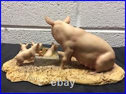 Rare Pig figurine Scotland Border fine arts sculpture piglet Hog Swine UK 1985