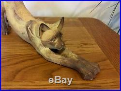VGC Rare 1999 Border Fine Arts Cubist Stone Stretching Siamese Cat Figure 463604